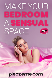 Pinterest pin for Make your Bedroom a Sensual Space – blond woman in pink satin bed