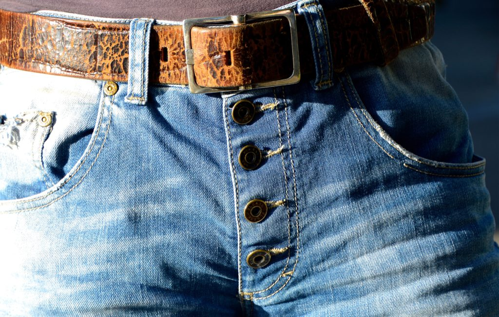 Man in jeans and belt (crotch area)